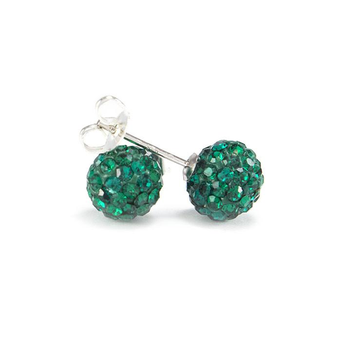 Сережки-гвоздики Кристальный шар 8 мм зеленые Арт. ER086SL