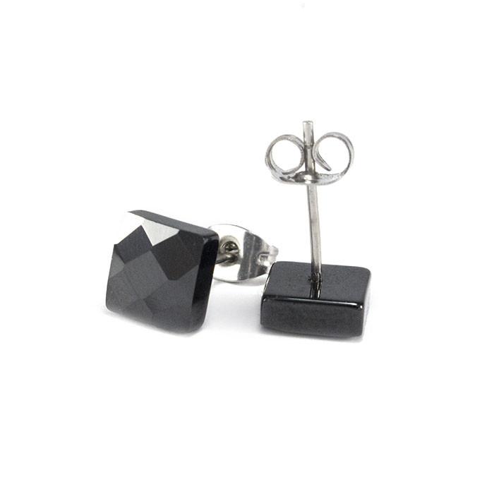 Сережки вольфрамовые квадратики черные Арт. ER001WF
