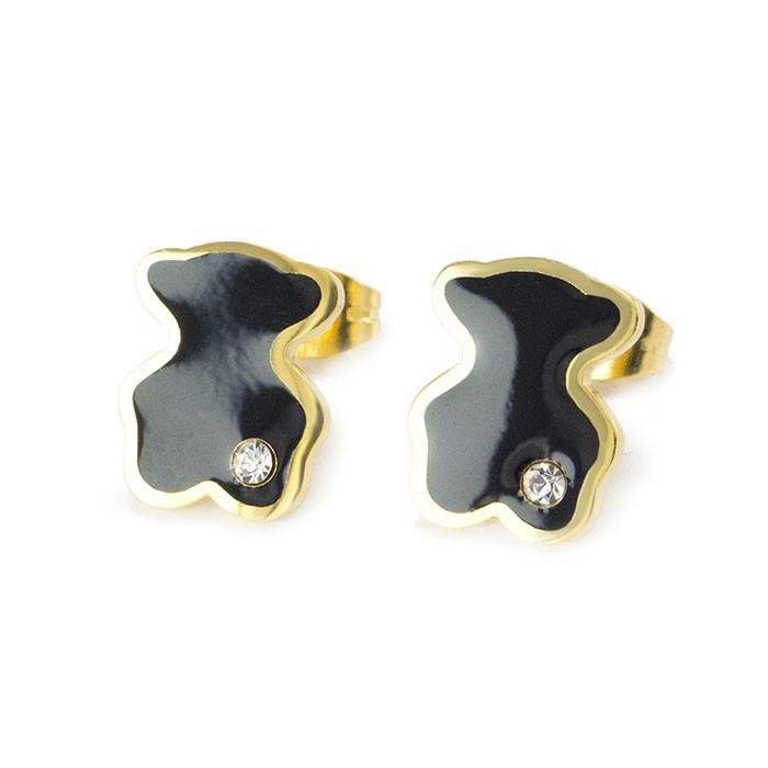 Сережки-гвоздики в стиле Tous с черной вставкой Арт. ER035SL
