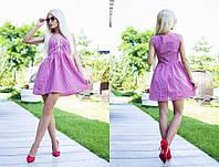 Женское, летнее, хлопковое мини-платье с юбкой-колокол и шнуровкой на груди.42-60р РАЗНЫЕ ЦВЕТА
