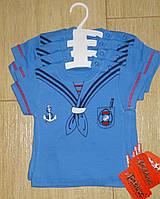 Футболка детская размер 3-6-9-12 мес Моряк