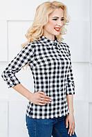 Женская рубашка в клетку 2071 черно-белый