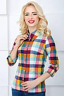 Женская рубашка в клетку 2071 цветная клетка