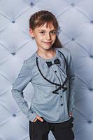 Нарядна кофточка на дівчинку з рюшами та бантиком.Р-ри 122-152