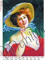 Схема для вышивания бисером Дама в шляпе