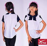 Нарядная белая блузка школьная для девочки с бантом белая с синей отделкой, с отделкой в горох