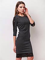 Женское приталенное платье с кружевными вставками рукав 3/4  90174, фото 1
