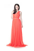 Коралловое вечернее платье Pierre Cardin