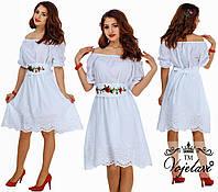 Платье нарядное с вышивкой на поясе. 4 цвета. Р-ры: от 42 до 54.