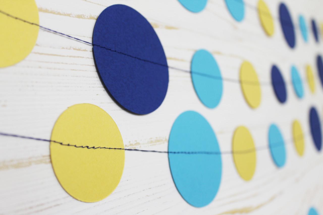 Бумажная гирлянда из кругов, голубой микс