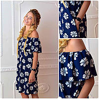 Платье 786  принт цветок на синем