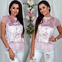 Женская блуза велюровая с кружевом