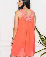 Летнее шифоновое платье с подкладкой(В2br) оранжевый