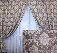 """Готовые плотные шторы, коллекция """"Лен Корона"""". 134ш"""