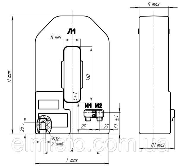 Габаритные, установочные, присоединительные размеры и масса трансформаторов тока ТШЛ-0,66