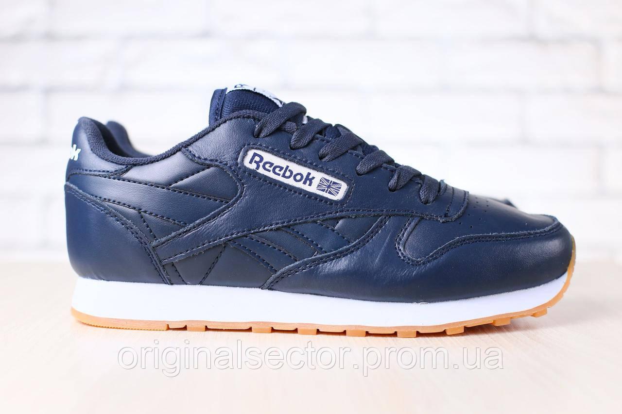 4ec3cc826512 Женские кожаные кроссовки Reebok темно-синие - интернет-магазин