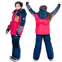 Зимний комплект для девочки от 4 до 14 лет (куртка, полукомбинезон, манишка) ТМ Deux par Deux Синий+красный J825-481