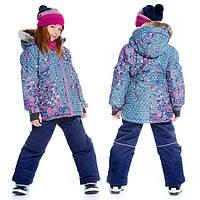 Зимний комплект для девочки от 4 до 14 лет (куртка, полукомбинезон, манишка) ТМ Deux par Deux Синий+разноцветн. H813-481
