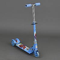 "Самокат Спайдермен диаметр колес 9,5"", 3 колеса PVC , свет, металлический, голубой"