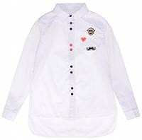 Блуза школьная Elen с длинным рукавом белая для девочки ТМ Newpoint 146 152 158 164