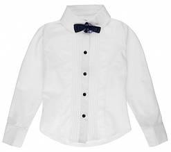 Блуза школьная Gloria с длинным рукавом белая для девочки ТМ Newpoint 128