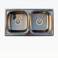 Кухонна мийка подвійна TRION 7843 Подвійна Гладка 0.8 mm