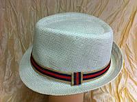 Молочная шляпа под мужской стиль из рисовой соломки