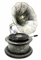 """Граммофон """"Антик"""" действующий, 78-скорость (круглый, посеребренный)(63х32х32 см)"""