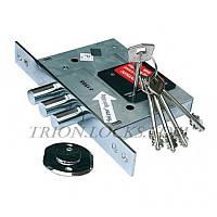 Замки для дверей врезной KALE 257 L  с покрытием хром и накладкой 5 ключей 60 mm Никель