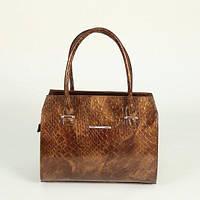 Женская сумочка М50-241-1 в коричневом лаке по крокодила каркасный деловой саквояж