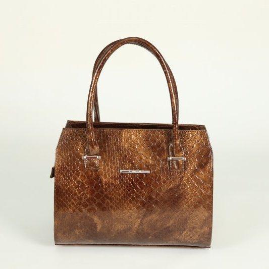 a7e515910d99 Женская сумочка М50-241-1 в коричневом лаке по крокодила каркасный деловой  саквояж,