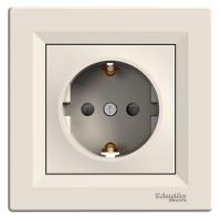 Розетка c заземляющим контактом с защитными шторками Кремовый ASFORA EPH2900223