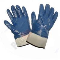 Рукавички робочі трикотажні з нітриловим покриттям жорсткий манжет сині