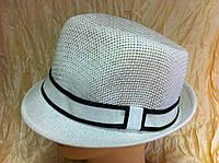 Шляпа под мужской стиль из рисовой соломки