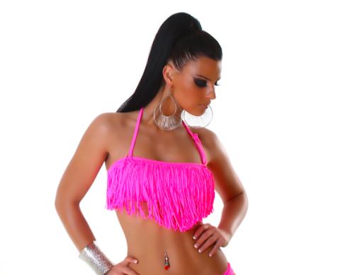 Розовый бандо с бахромой лиф