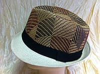 Комбинированная шляпа из соломки формы федоры