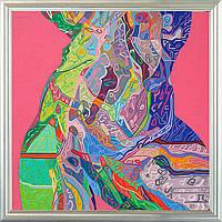 Репродукция современной  картины  «Афродита на розовом» 60 х 60 см