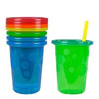 Детские стаканы-непроливайки с трубочкой и крышкой The First Years (поильник),набор 4 шт.