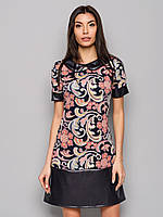 Кожаное женское полуприталенное платье с коротким рукавом 9049/1, фото 1