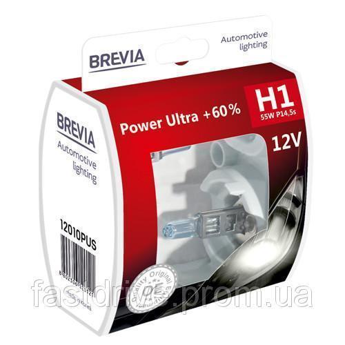 Автолампы Brevia H1 55w Power Ultra +60% 2шт 12010PUS