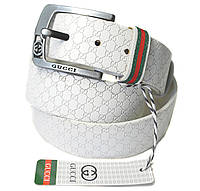 Белый ремень кожаный в стиле Gucci