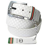 Белый ремень кожаный Gucci