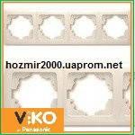 Четверная горизонтальная рамка Viko carmen крем