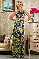 Длинное летнее шифоновое платье с принтом 42-48 размер
