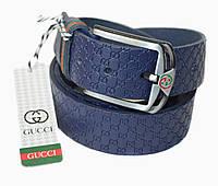 Синий ремень кожаный Gucci