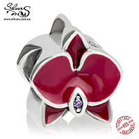 """Серебряная подвеска шарм Пандора (Pandora) """"Орхидея"""" для браслета бусина"""