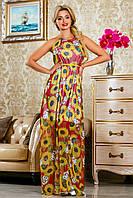 Длинное летнее шифоновое платье с принтом 42-48 размер, фото 1