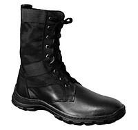 Берцы (ботинки с высокими берцами)  кожа облегченные Лето вставка ткань ПУ (литая) подошва черные