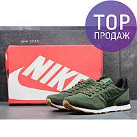 Мужские кроссовки NIKE, замш + плотная сетка, зеленые / кроссовки для бега мужские НАЙК, стильные