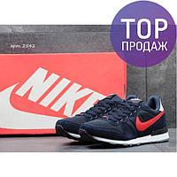 Мужские кроссовки NIKE, замш + плотная сетка, темно синие с красным / бег кроссовки мужские НАЙК, стильные
